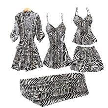 New 5 Pieces Satin Sleepwear Withe Chest Pad Spring Women Pyjamas Sexy Lace Pajamas Sleep