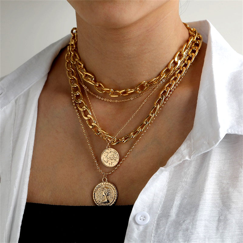 Vintage Multilayer Chain Necklace, Women's Necklace Torques, Large Coin Pendant, Jewelry Accessories