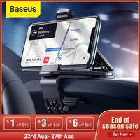 Baseus自動車電話ホルダー電話調節可能なクリップ金属車のダッシュボードホルダーiphoneサムスンの携帯電話用スタンドホルダー