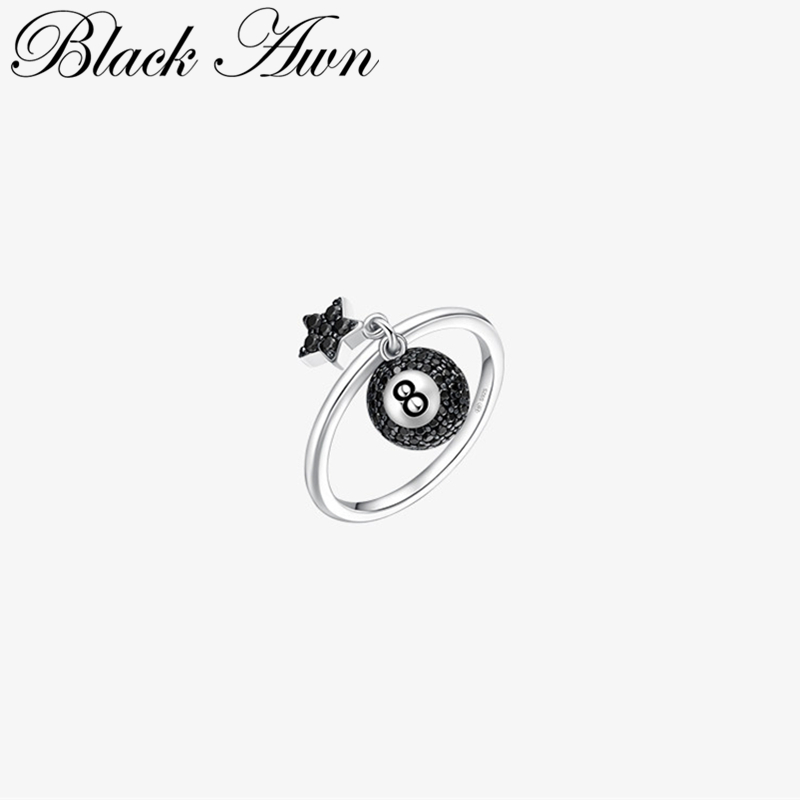 [BLACK AWN] Genuine 925 Sterling Silver Jewelry Black '8' Rings For Women Female Star Bague G100