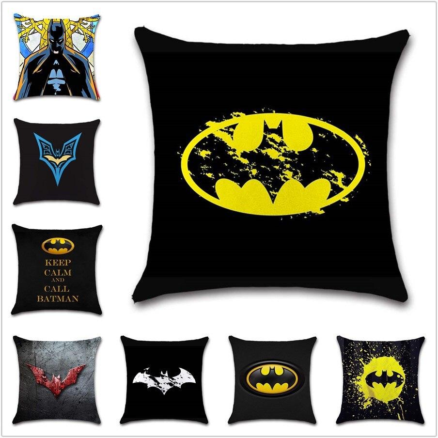 Super hero Batman logo art mark sign Cushion Cover Decoration chair Home sofa seat friend kids cartoon bedroom gift pillowcase