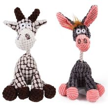 Fun Pet Toy Donkey Shaped Corduroy Chew Toy For Dog Puppy Squeaker Squeaky Plush Bone