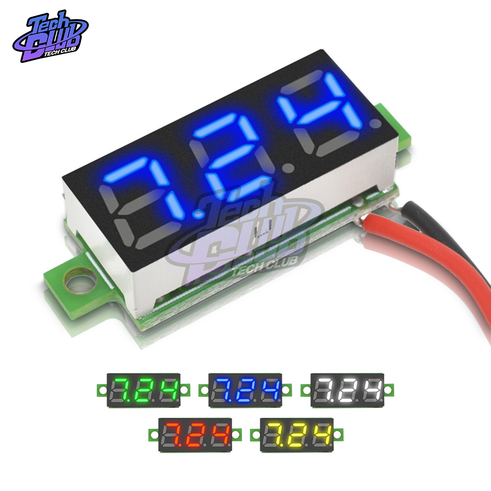 Mini Digital Voltmeter Voltage Tester Meter 0.28 Inch 2.5V-30V LED Screen Digital Voltmeter Red Green Blue Yellow