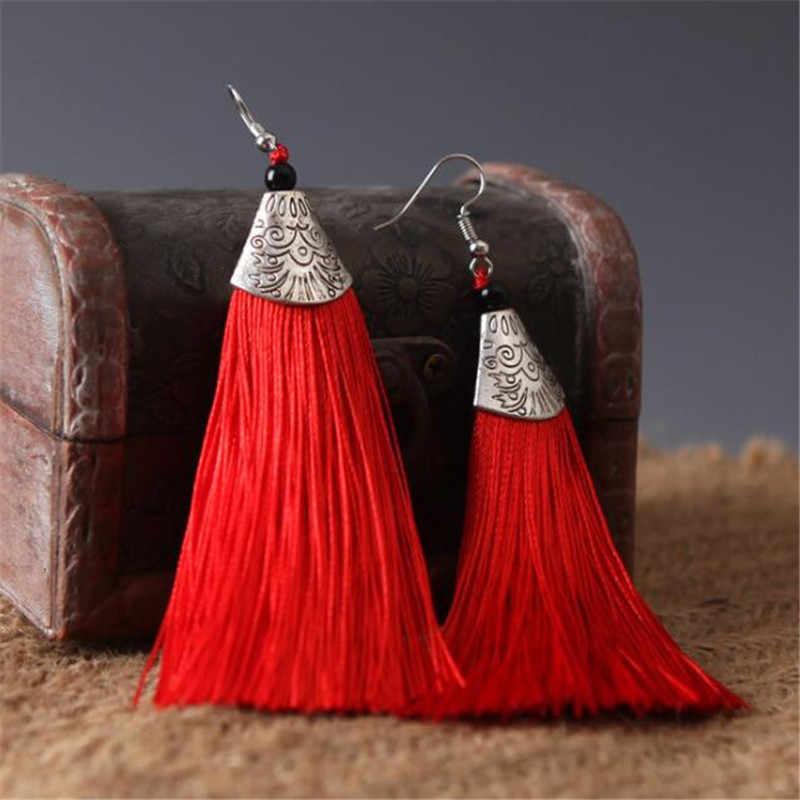 SexeMara Vintage Tassel Earrings Women Fashion Brand Jewelry Geometric Silver Color Simple Dangle Drop Earrings