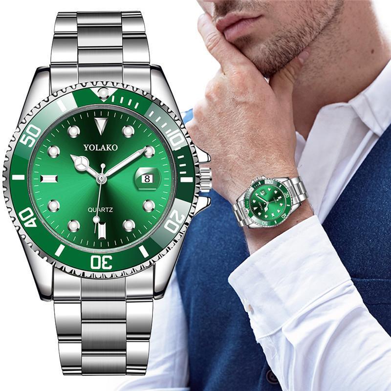 YOLAKO The Mens' Watches New Luxury Business Watch Men Calendar Green Dial Fashion Male Watch Clock Reloj Hombre Zegarek Meski