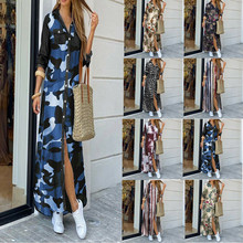 Fashion Women Long Sleeve Shirt Dresses 2021 New Summer Autumn Printed Turn down Collar Loose Long Sexy Casual Party Sundress