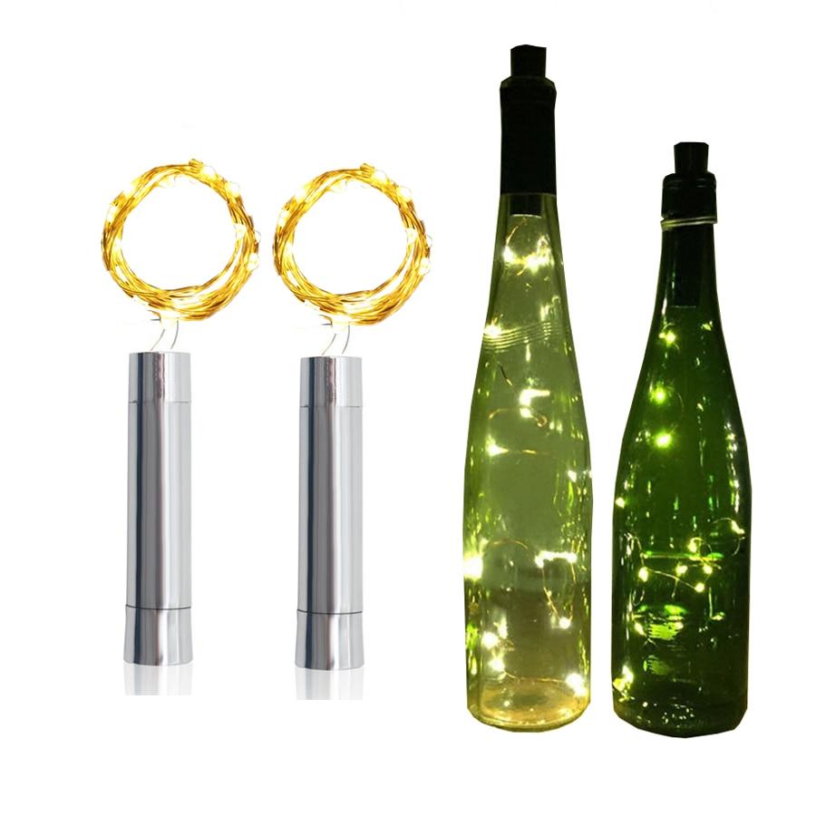 Thrisdar 2M 20LED Wine Bottle Cork Stopper String Light AA Powered Copper Wire Star Fairy Garland Light Bar Party Wedding Light