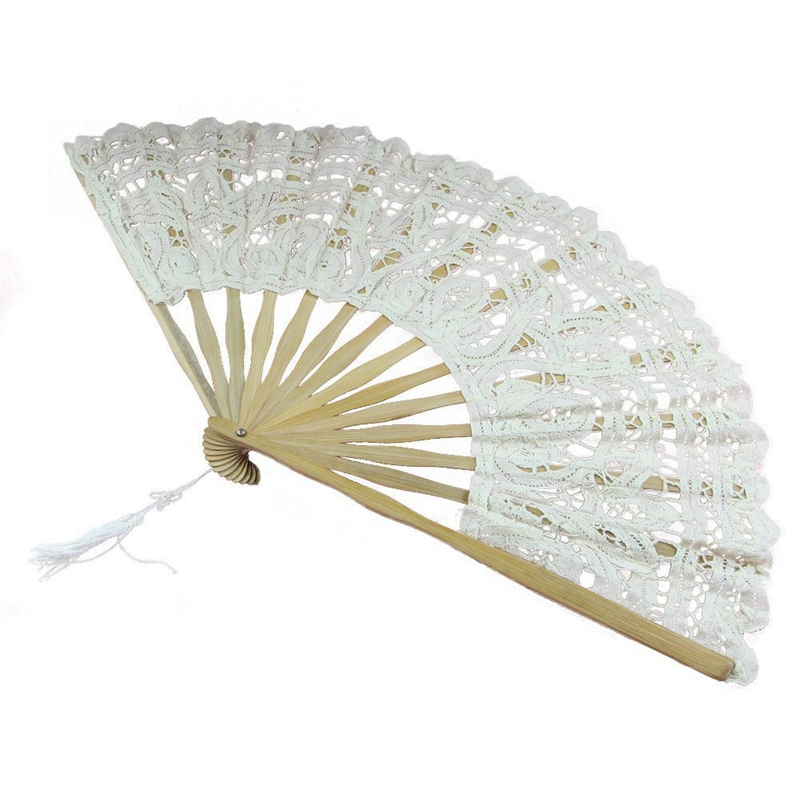 Handmade Cotton Lace Folding Hand Fan For Party Bridal Wedding Decoration ( Beige)