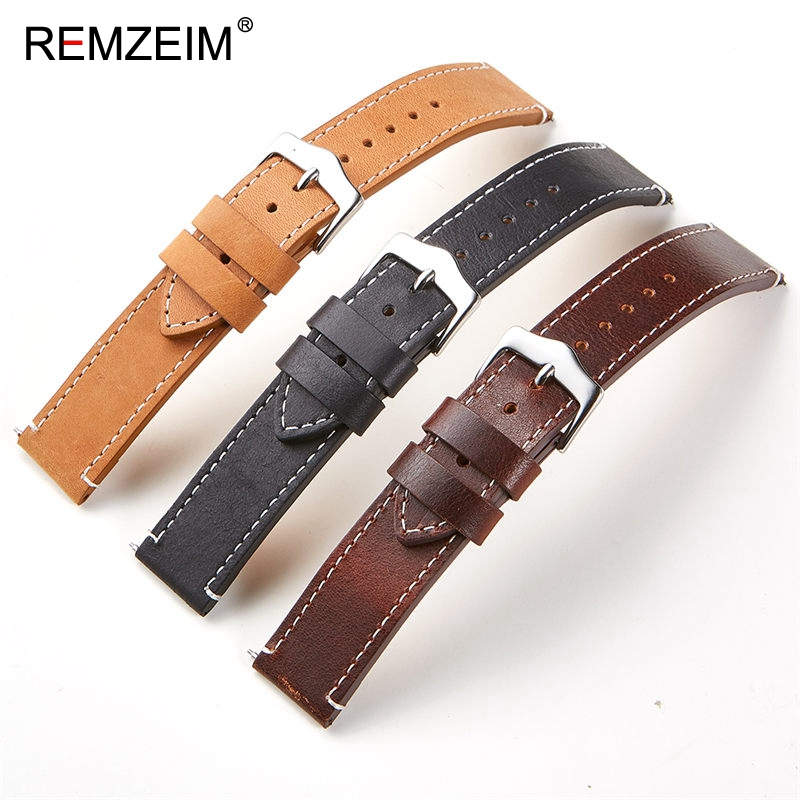REMZEIM Oil wax skin 22mm 20mm Leather Watchbands For Samsung Galaxy Watch 46mm 42mm Active 2 40mm 44mm Band Gear S3 S2 Strap