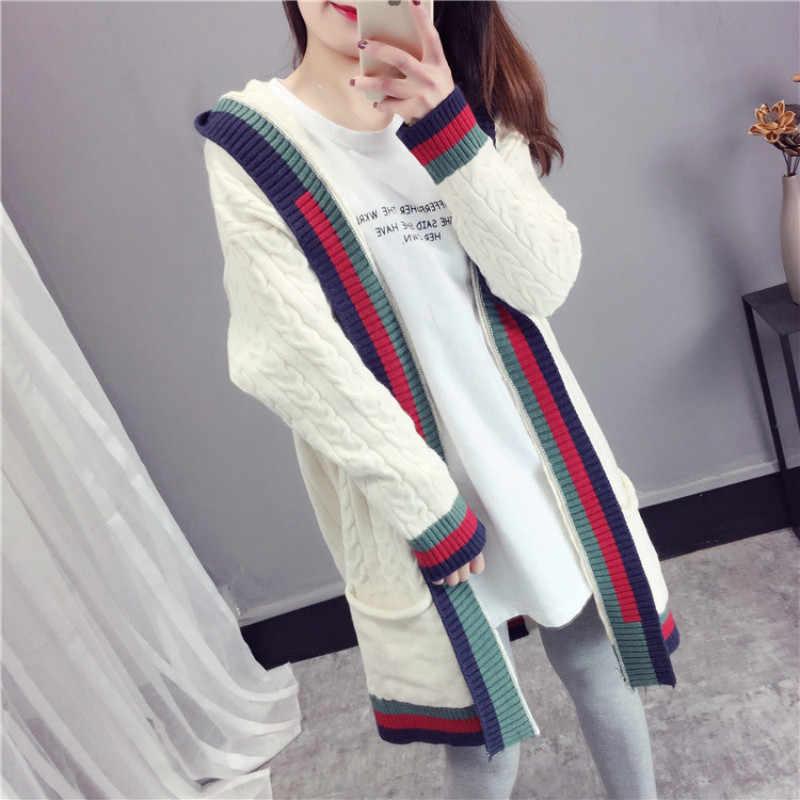 겨울 의류 여성 카디건 후드 Mujer 캐주얼 니트 긴 스웨터 코트 숙녀 두꺼운 가을 재킷 XE3344