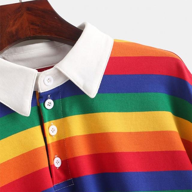 QRWR 2020 Polo Shirt Women Sweatshirt Long Sleeve Rainbow Color Ladies Hoodies With Button Striped Korean Style Sweatshirt Women 3