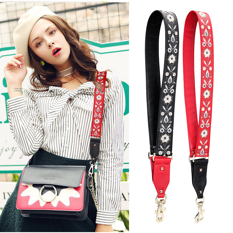 Embroidery Genuine Leather Bag Straps Shoulder Belts Replacement Detachable Handbag Handle Crossbody Belts Bag Accessories