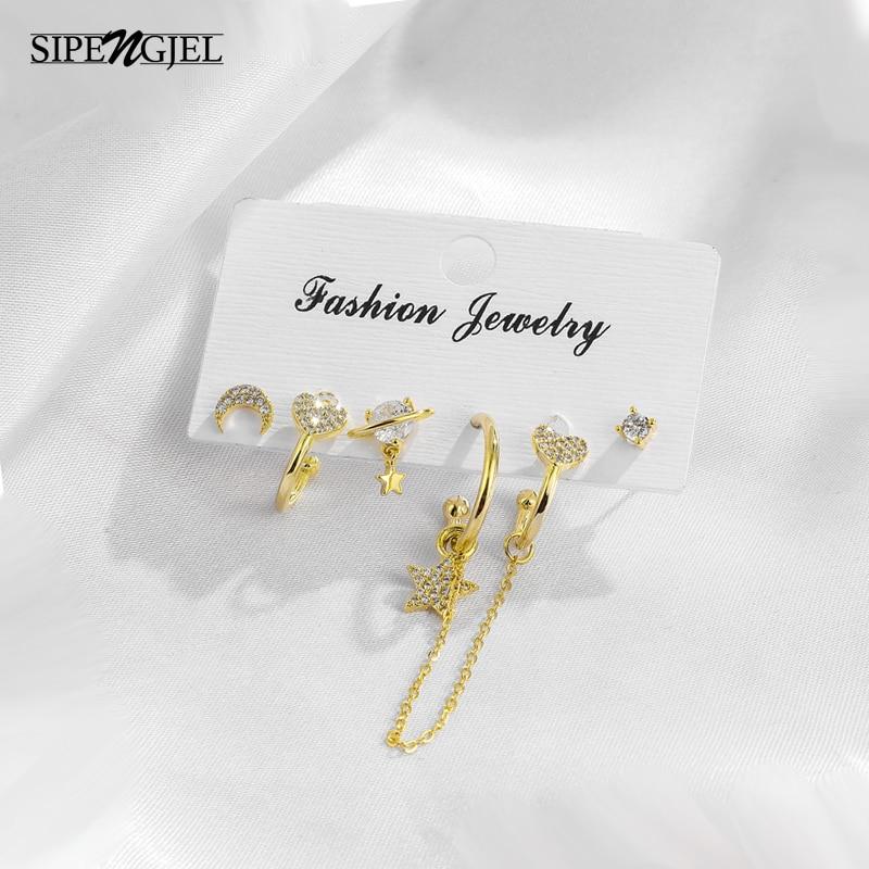 Модный микро Cz Кристалл милый Луна и звезда набор серьги-кольца 6 шт наборы серьги для женщин ювелирные аксессуары 2021 тренд