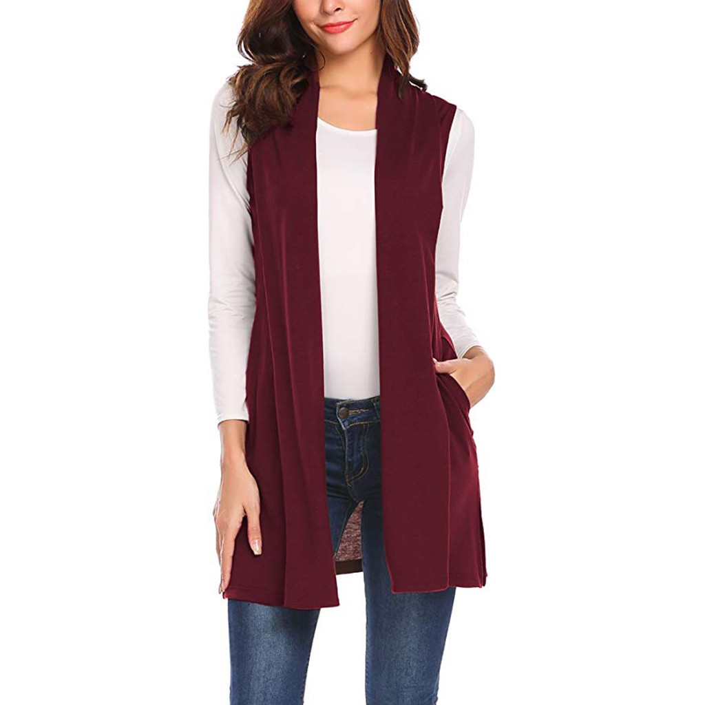 New sweater women Long Vests Sleeveless Draped Lightweight Open Front Cardigan Vest pull femme nouveaute 2019#guahao 2