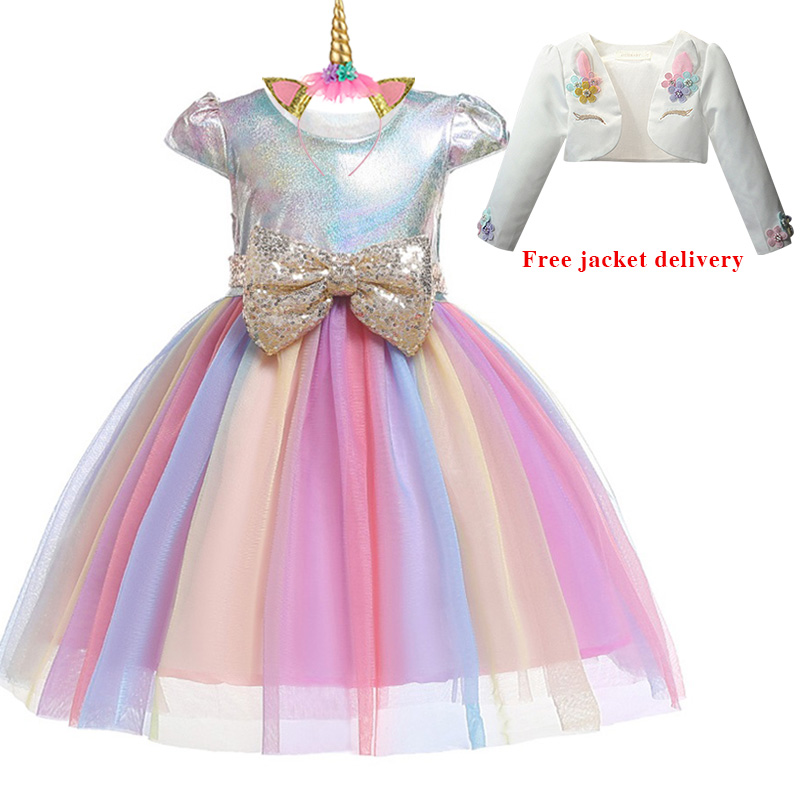 Hf4e68c135ed34bcfa5533d92936f13fcD New Unicorn Dress for Girls Embroidery Ball Gown Baby Girl Princess Birthday Dresses for Party Costumes Children Clothing