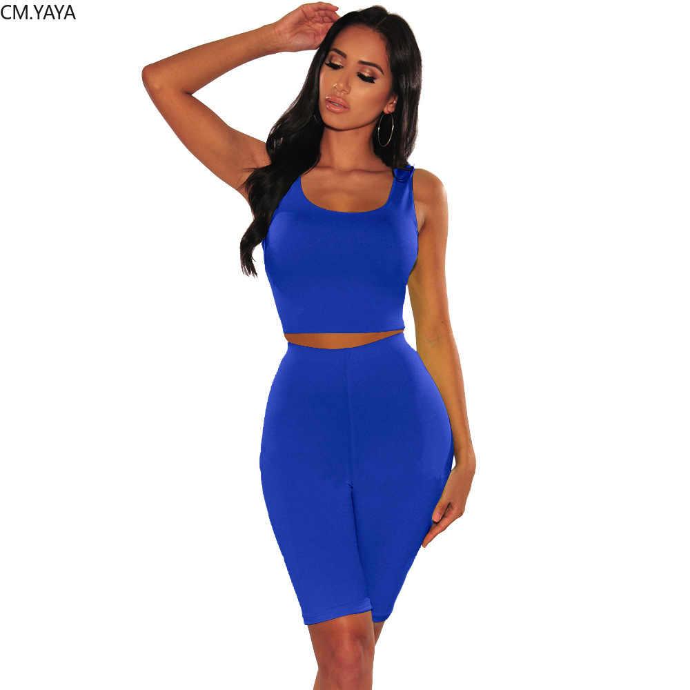 2019 קיץ נשים ללא שרוולים קצר גופייה הברך אורך מכנסיים חליפת שתי חתיכה להגדיר אופנה ספורטיבי אימונית תלבושת 8 צבע GL2443