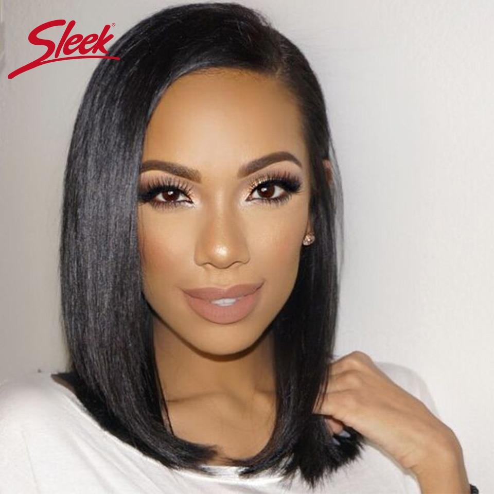 Sleek Short Human Hair Wigs 100% Remy Brazilian Hair Wigs Real Straight Human Hair Wigs 150% Density Wigs Right U Part Lace Wig