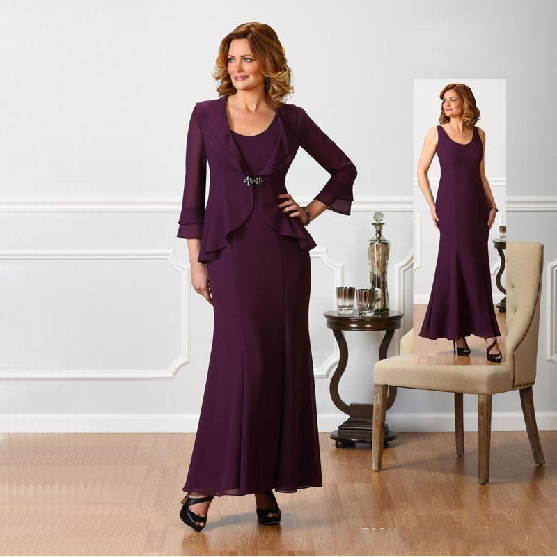 Vestido Novia Two Pieces Ankle Length Wedding Party Evening Gowns 2018 Grape Elegant Mother Of The Bride Dresses With Jacket