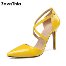 ZawsThia Crossed Strap Shoes Women Pumps Buckle Strap Sexy Thin High Heels Two Piece Heels Pointed Toe Yellow Ladies Shoes 33 47