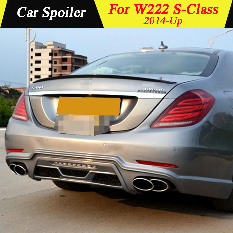 For <font><b>Mercedes</b></font> <font><b>W222</b></font> <font><b>S</b></font> <font><b>Class</b></font> 4-door Sedan 2014-Up Carbon Fiber Rear Trunk Spoiler Car Tail Wing Decoration For S300 S350 S400 S550 image