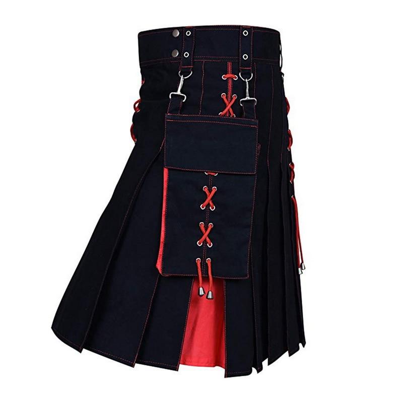 MJARTORIA 2020 New Utility Kilt Hybrid Modern Cotton Jeans Kilt For Men's Scottish Traditional Retro Vintage Pattern Skirt