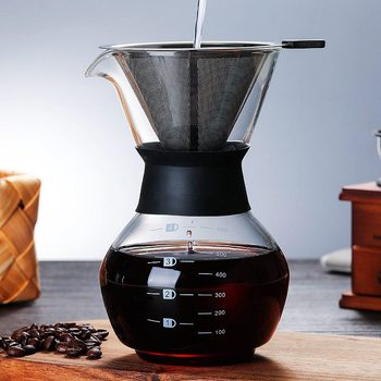 600ml Glass Coffee Kettle with Stainless Steel Filter Drip Brewing Hot Brewer Coffee Pot Dripper Barista Pour Over Coffee Maker nature trail