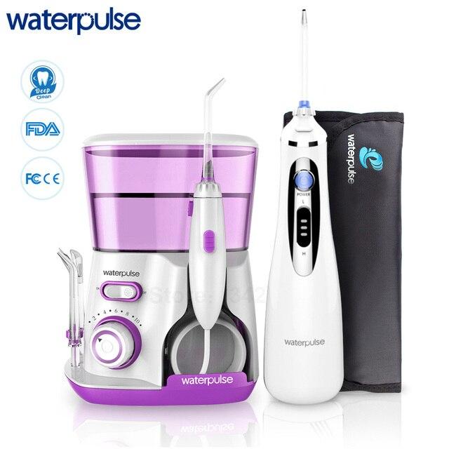 Waterpulse V300 + V400Plus su Flosser ile Set 9 İpuçları elektrikli Dental Oral irigatör pensesinde hijyeni ağız bakımı aile kullanımı için