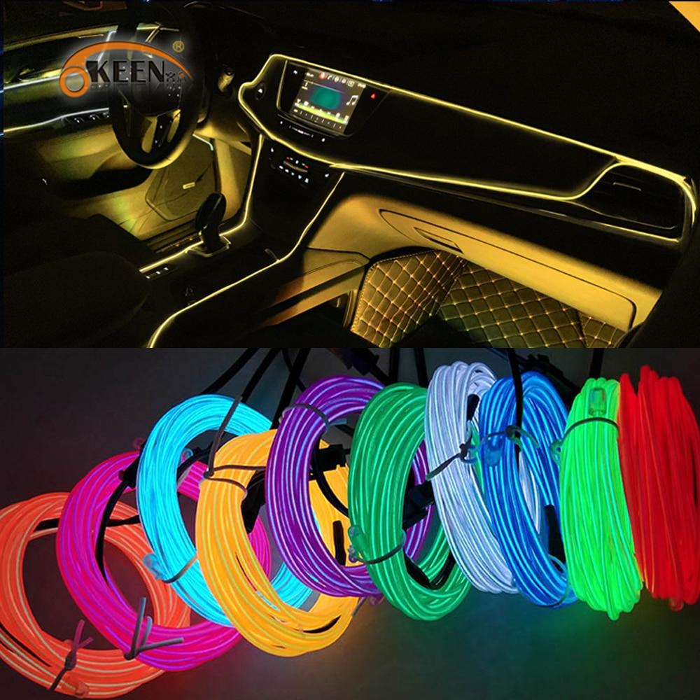 Okeen синхро-адаптер длиной 1 м/2 м/3 м/5 м неоновый светодиодный автомобиль Подсветка салона полоски авто светодиодный полосы гирлянды EL трос ла...