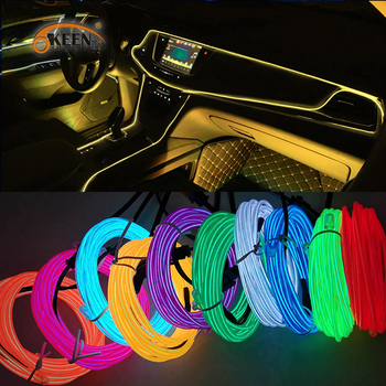 Okeen 1m/2m/3m/5m Neon LED Car Interior Lighting Strips Auto LED Strip Garland EL Wire Rope Car Decoration lamp Flexible Tube image