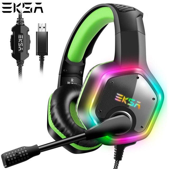 Проводные Игровые наушники EKSA E1000 с USB, профессиональная игровая гарнитура 7,1 виртуального окружающего звучания с микрофоном светодиодный светильник кой для PS4, ПК, зеленые, серые