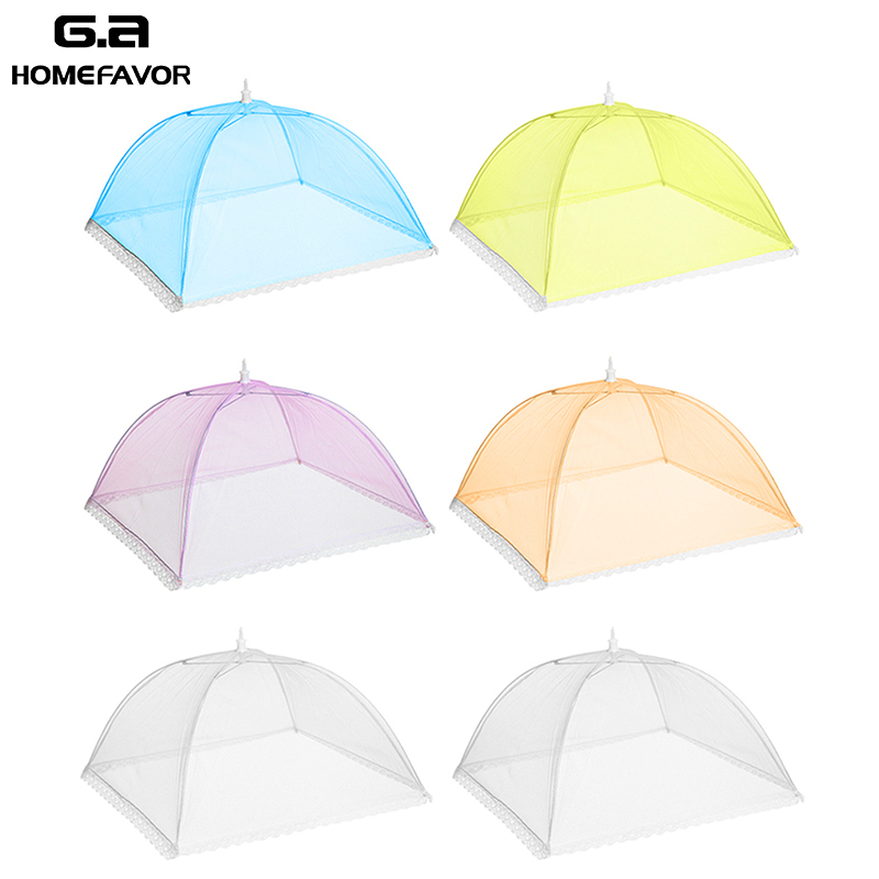 6 or 4 Pcs Pop Up Food Covers Umbrella Kitchen Mesh Screen Cover Tents Large Outdoor Picnic Net Protector