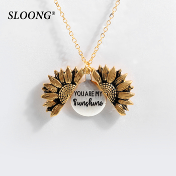 2019 New Women Gold Necklace Custom You are my sunshine Open Locket Sunflower Pendant Necklace Free Dropshipping