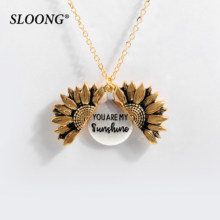 2019 New Women Gold Necklace Custom You are my sunshine Open Locket Sunflower Pendant Necklace Free Dropshipping(China)