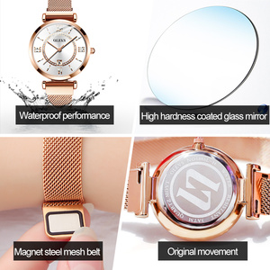Image 5 - 2020 OLEVS Dress Women Watch Luxury Rose Gold Ladies Wristwatches Japan Imports Quartz Movement Watches Relogio Feminino gifts