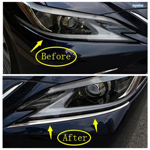 Image 2 - Lapetus Front Head Lights Lamp Eyelid Eyebrow Decoration Frame Cover Trim 2 Piece Stainless Steel For Lexus ES 2018   2021