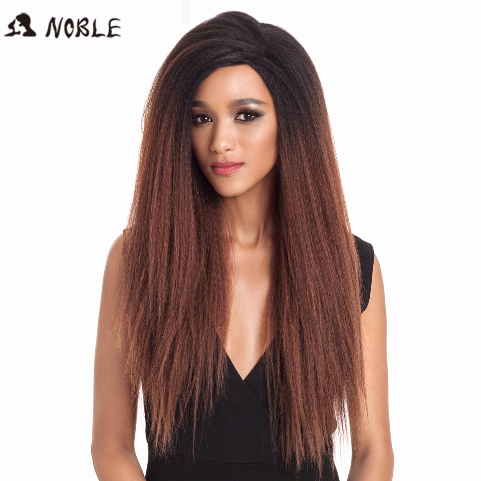 Noble Synthetic Lace Front Wig Long Kinky Straight Baby Hair 26 Inch Wigs For Black Women 0mbre Wig Lace Front Synthetic Wigs
