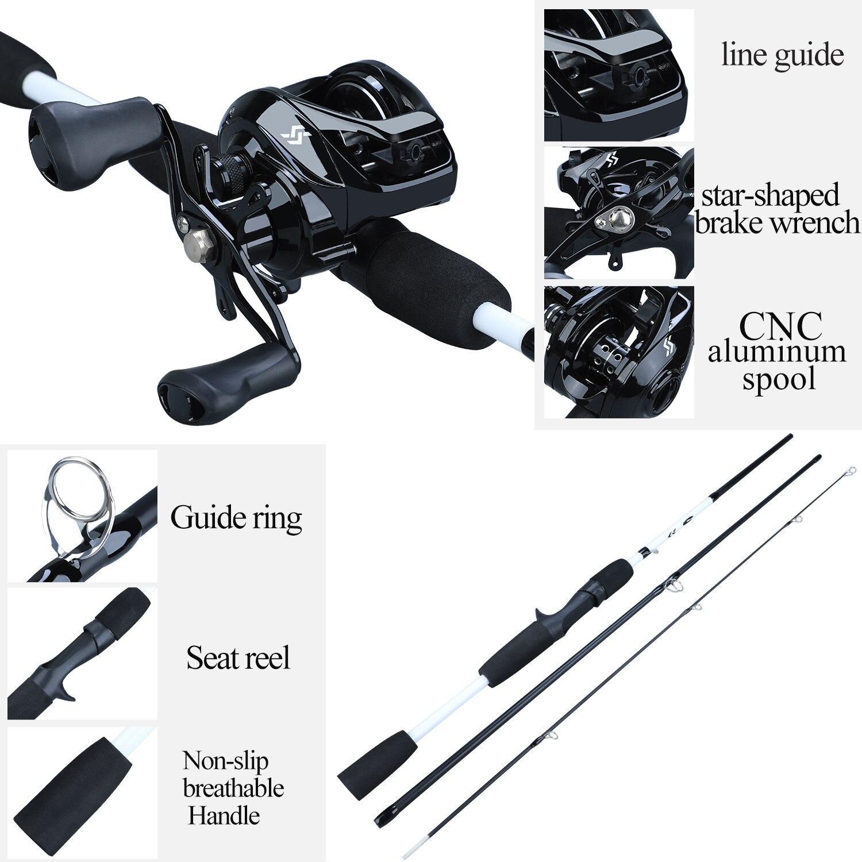 Sougayilang 1.75m canne à pêche Combo 3 Sections canne à pêche en carbone avec 12 + 1BB Baitcasting moulinet ensemble de matériel de pêche Kit Pesca - 3