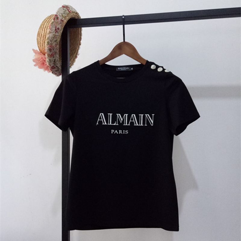 Summer Women T shirt Metal Letter Print Cotton T shirts Brand Female O Neck Short Sleeve Tshirts Casual Loose Solid Tees Tops T-Shirts  - AliExpress
