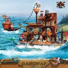 665 шт Приключения Пиратский корабль строительные блоки игрушки