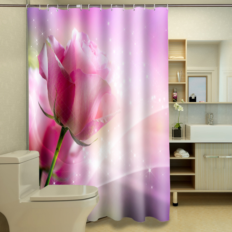 3D Shower Curtains Waterproof Thickened Bath Curtains For Bathroom Customizable Festive Pink Rose And Butterfly Pattern