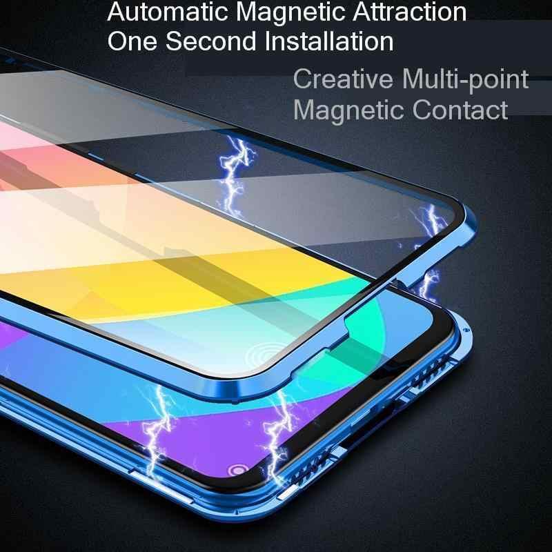 磁性金属ケース iphone 7 8 6 6S プラス XR X XS 最大 11 プロマックスシャオ mi 赤 mi 注 8 7 10 K20 プロ 8 mi 9 SE 9T プロ CC9 e