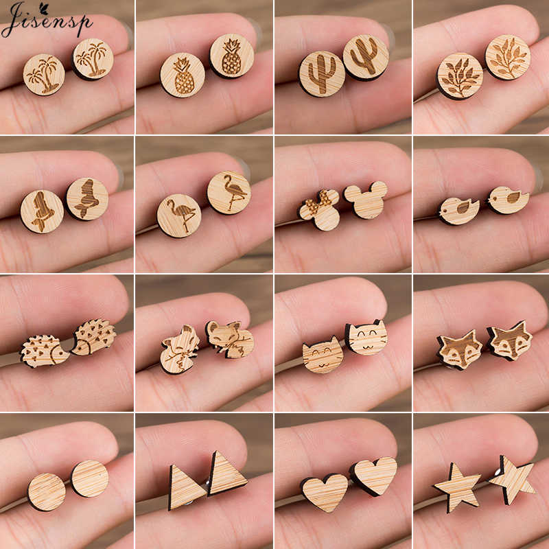Jisensp Wood Jewelry Earings Cute Mickey Stud Earrings for Women Kids Animal Fox Ear Earrings Piercing Pendients Party Gifts