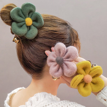 High Elastic Hair Band Plush Flower Clip Tie Ponytail Holder Lady Scrunchies Girls Sweet Popular Accessories - discount item  19% OFF Headwear