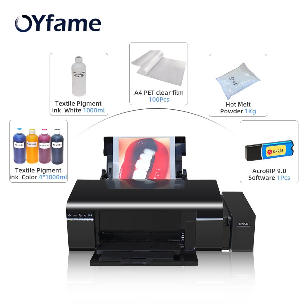 OYfame A4 boyutu L805 DTF baskı doğrudan transfer film baskı tüm kumaş baskı DTF BASKI MAKİNESİ koyu ışık T t-shirt baskı
