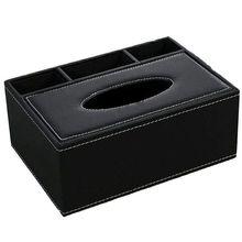 Кожаная Коробка для салфеток держатель дистанционного управления Многофункциональный Настольный Органайзер карандаш ножничный контейнер(черный