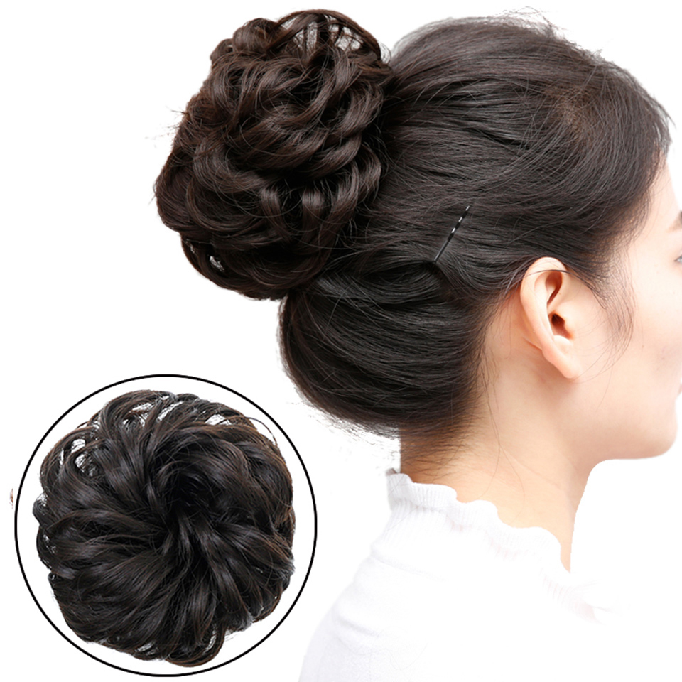 Buqi Synthetic Fake Hair Bun Chignons For Adult Women Elastic Scrunchies Hair Piece Bun Hair Tail Updo Afro Ponytail Accessory