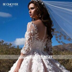 Image 4 - Bechoyer Sweetheart Applicaties Wedding Dress Charmant 3D Bloemen A lijn Roze Prinses K192 Vestido De Noiva Aangepaste Bruid Gown