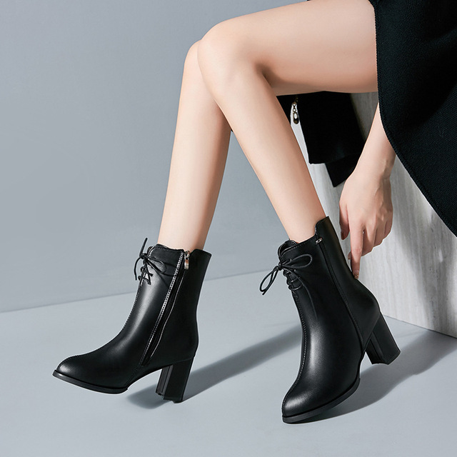 Classics Fashion  Women Mid Calf Boots Cross tied Solid Vintage Winter Boots  Round Toe Med   Plus Size Shoes