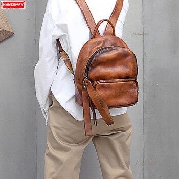 ¡Novedad de 2020! Mochila Retro hecha a mano para mujer, mochila de cuero, bolso de hombro femenino, Mochilas escolares salvajes de gran capacidad, mochila de viaje suave