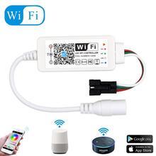 DC5-24V Мини Wifi WS2811 WS2812B RGB Светодиодная лента светильник управление Лер Amazon Alexa/Google Phone умный голос IOS/Android приложение управление